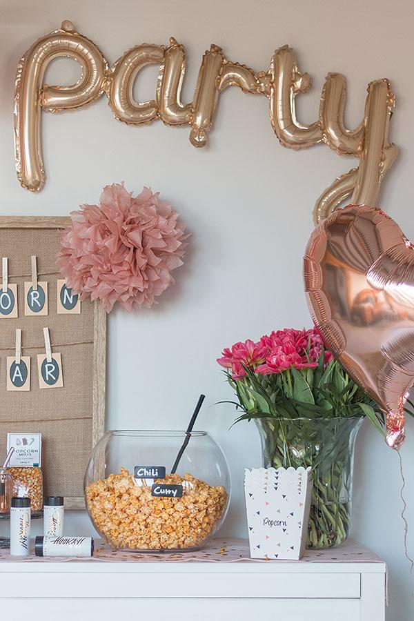 Popcorn Bar gestalten für Geburtstag, Fernsehabend mit Freunden, Hochzeit