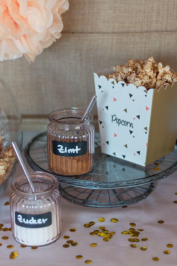 Zucker-Zimt-Popcorn selbstgemacht für Popcorn Bar