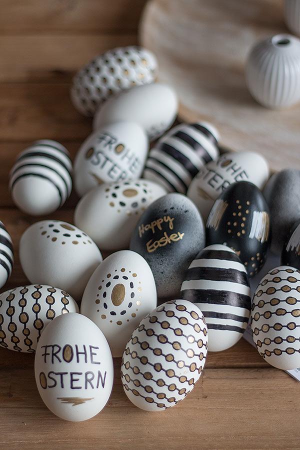 Ostereier gestalten in Schwarz, Weiß, Gold