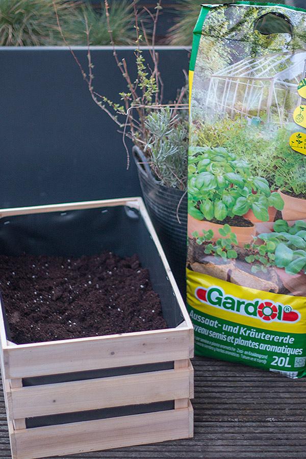 Holzkiste für den Kräutergarten mit Kräutererde zu dreiviertel befüllen