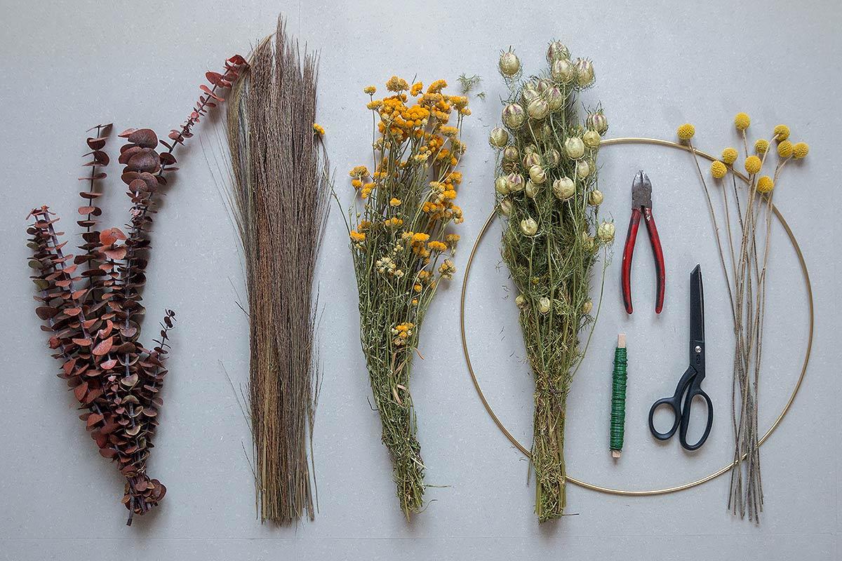 Zubehör DIY Kranz aus Trockenblumen