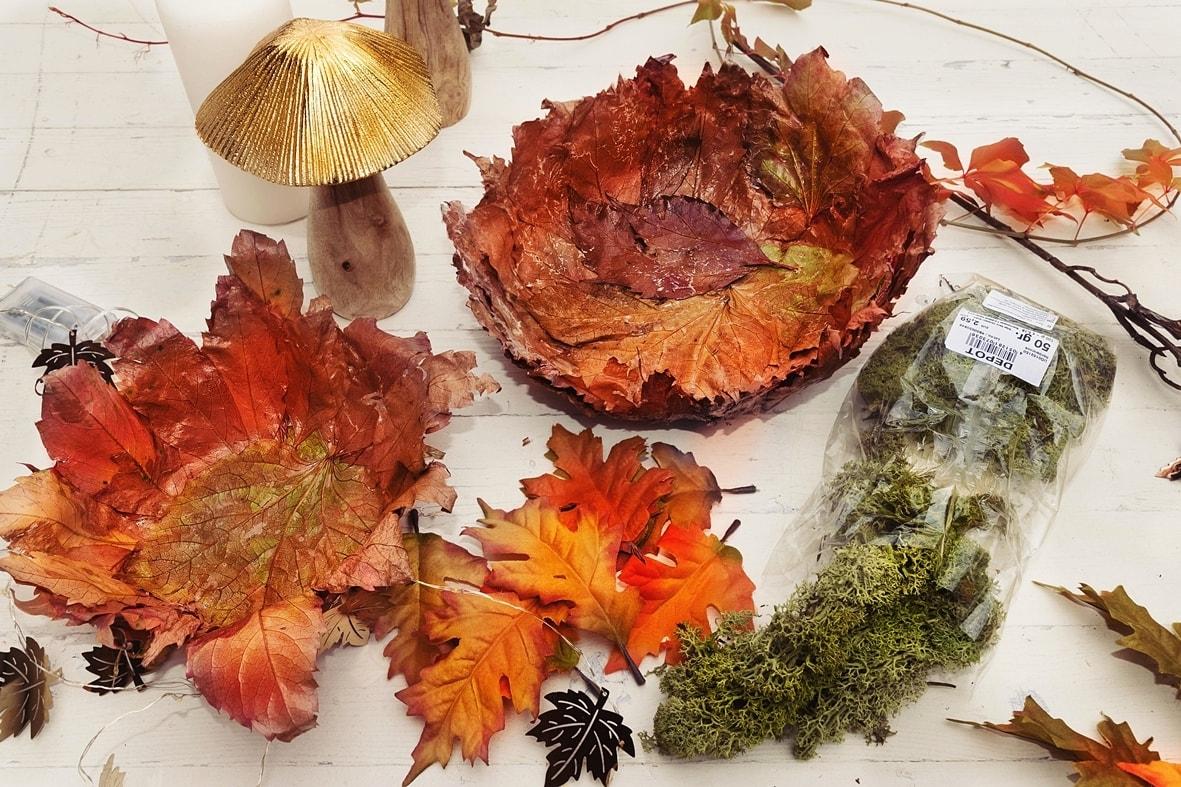 Herbstschale dekorieren.