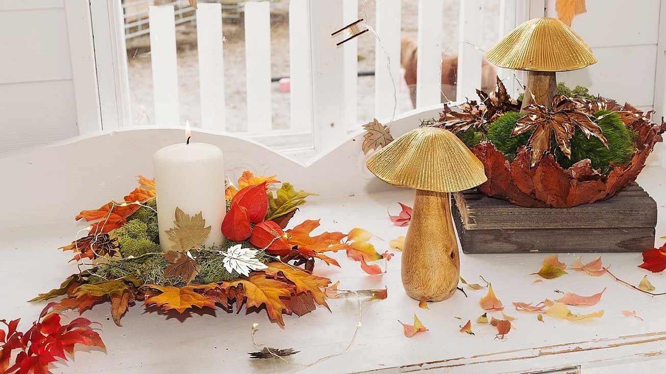 Herbstdeko aus Naturmaterialien.