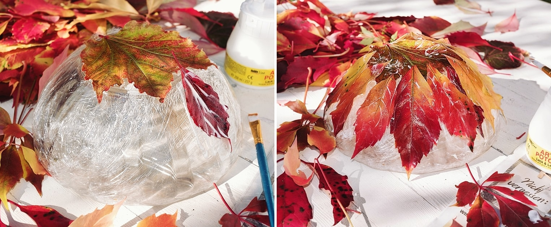 Herbstschale aus bunten Blättern basteln.