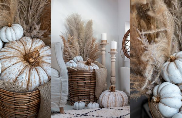 DIY Herbstkorb mit Zierkürbis und Gräsern