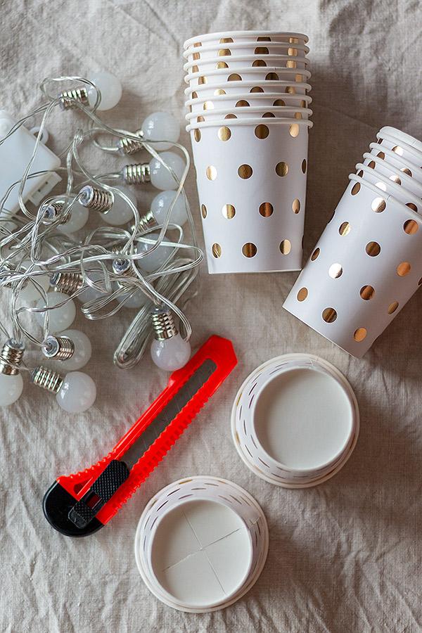 Zubehör Lichterkette aus Pappbechern