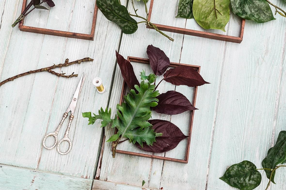 Rahmen mit Pflanzen dekorieren