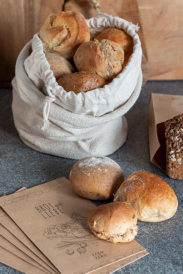 Brotkörbchen aus Baumwolle mit zum Bäcker nehmen für Nachhaltigkeit in der Küche