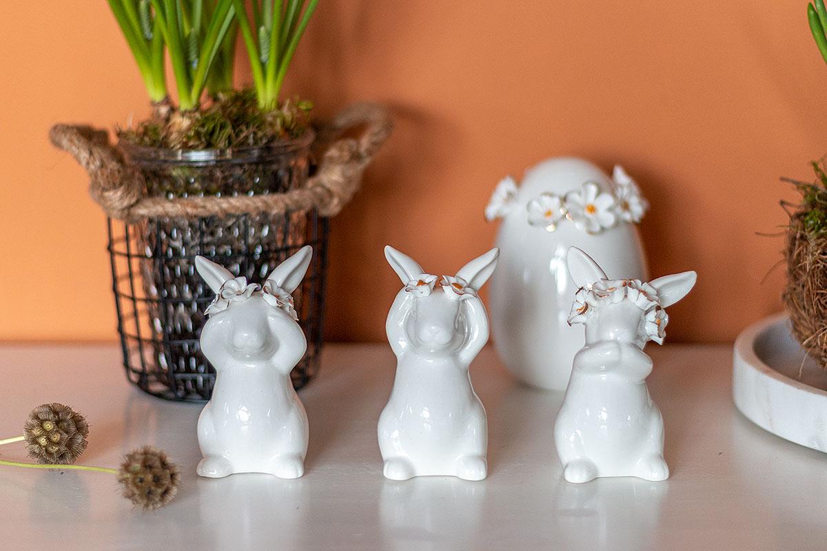 Dekofiguren Hase Daisy mit Blütenkranz